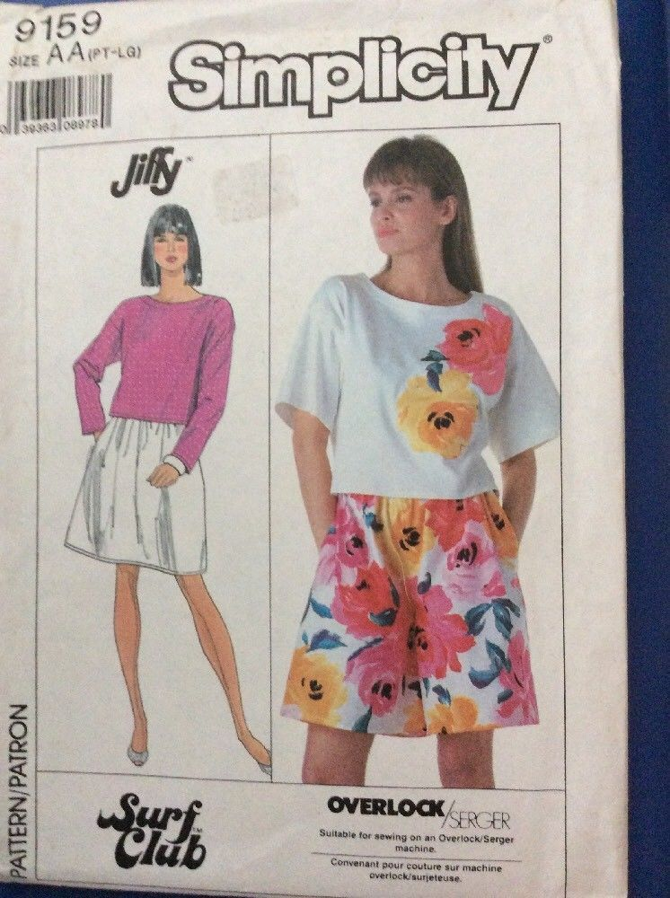 New Simplicity Sewing Pattern 9159 Easy Jiffy Misses Skirt Shorts ...