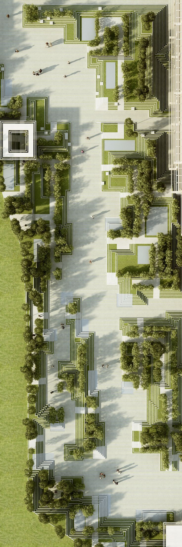 The project describes a landscape design and facade design for a