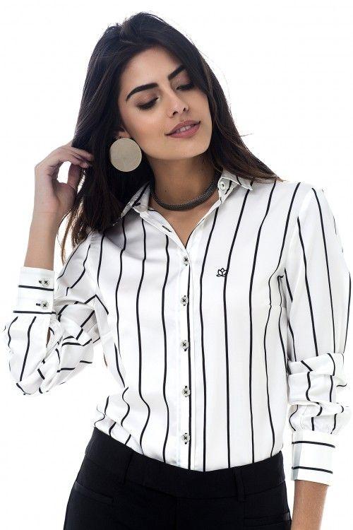 2092fdf12b Branca Listras Pretas - Les Chemises - Camisas Sociais Femininas