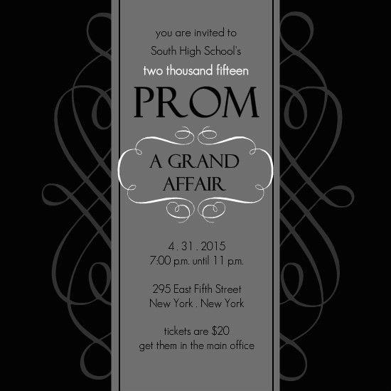 Black And White Formal Square Prom Invite by PurpleTrail - prom invitation templates