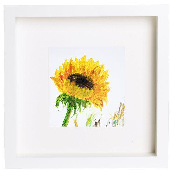 Sunflower painting, Greenery acrylics art, Yellow flower, Gold ...