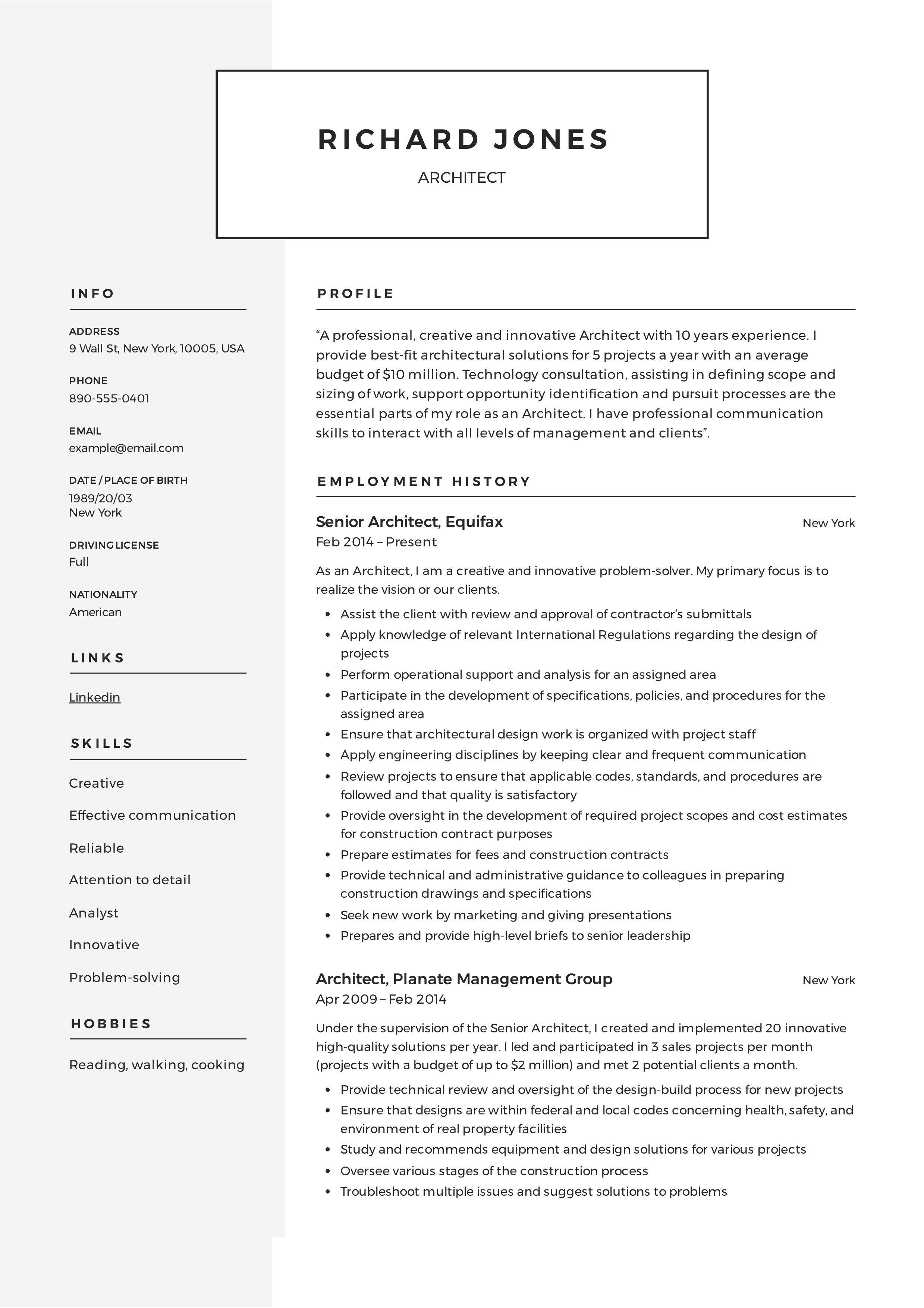 Architect Resume Template Architect Resume Registered Nurse Resume Architecture Resume