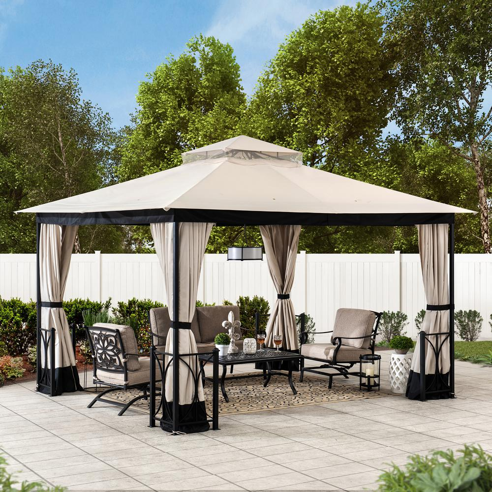 Sunjoy Delaware 10 Ft X 12 Ft Beige And Black Steel Gazebo With 2 Tier Hip Roof A101012400 The Home Depot In 2020 Steel Gazebo Patio Gazebo