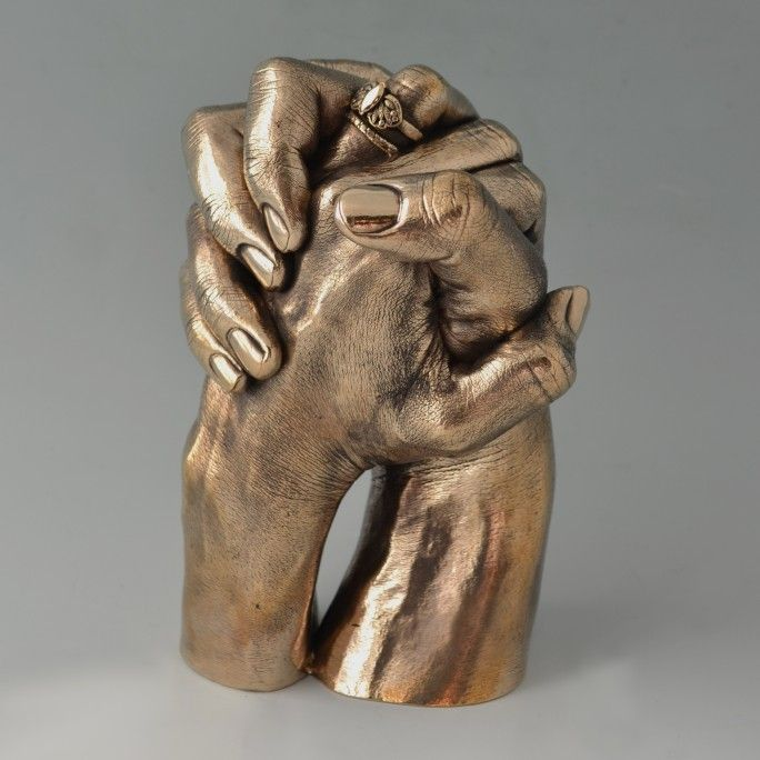 Two Hands Entwined Cast In Polished Bronze By Wrightson