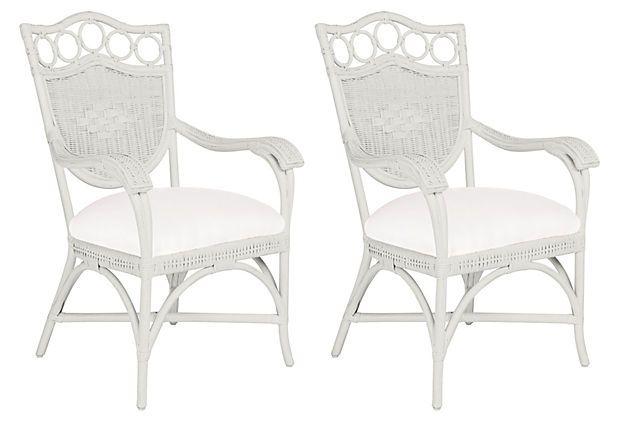 White Lee Dining Armchairs, Pair on OneKingsLane.com
