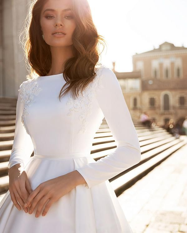Popular Satin Ball Gown Wedding Dresses Long Sleeve 2020 Bridal Gowns with Lace Appliques - 2020 wedding dresses - Lisa Blog