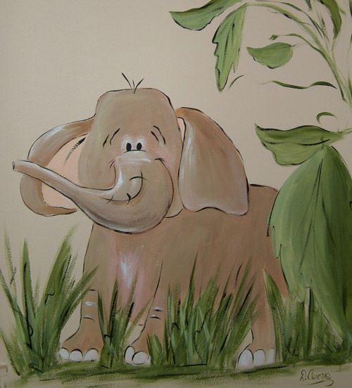Elephant nojo jungle babies baby room murals pinterest - Babyzimmer jungle ...