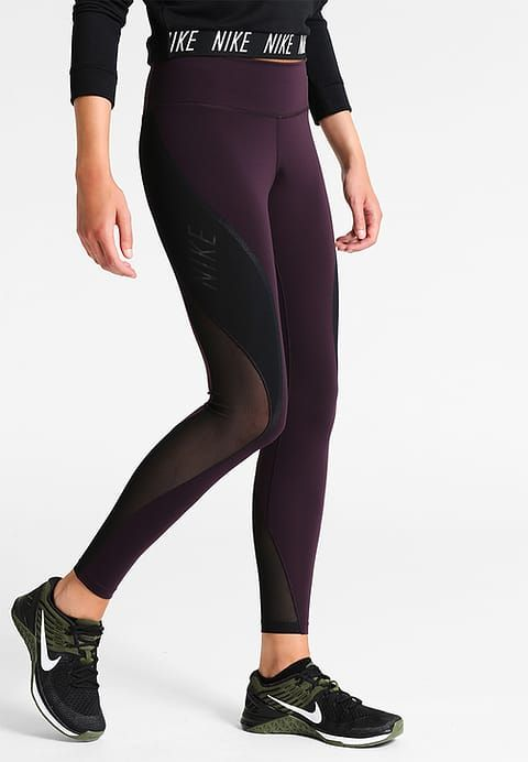 Nike Performance POWER LEGEND - Tights - port wine/black/white - Zalando.