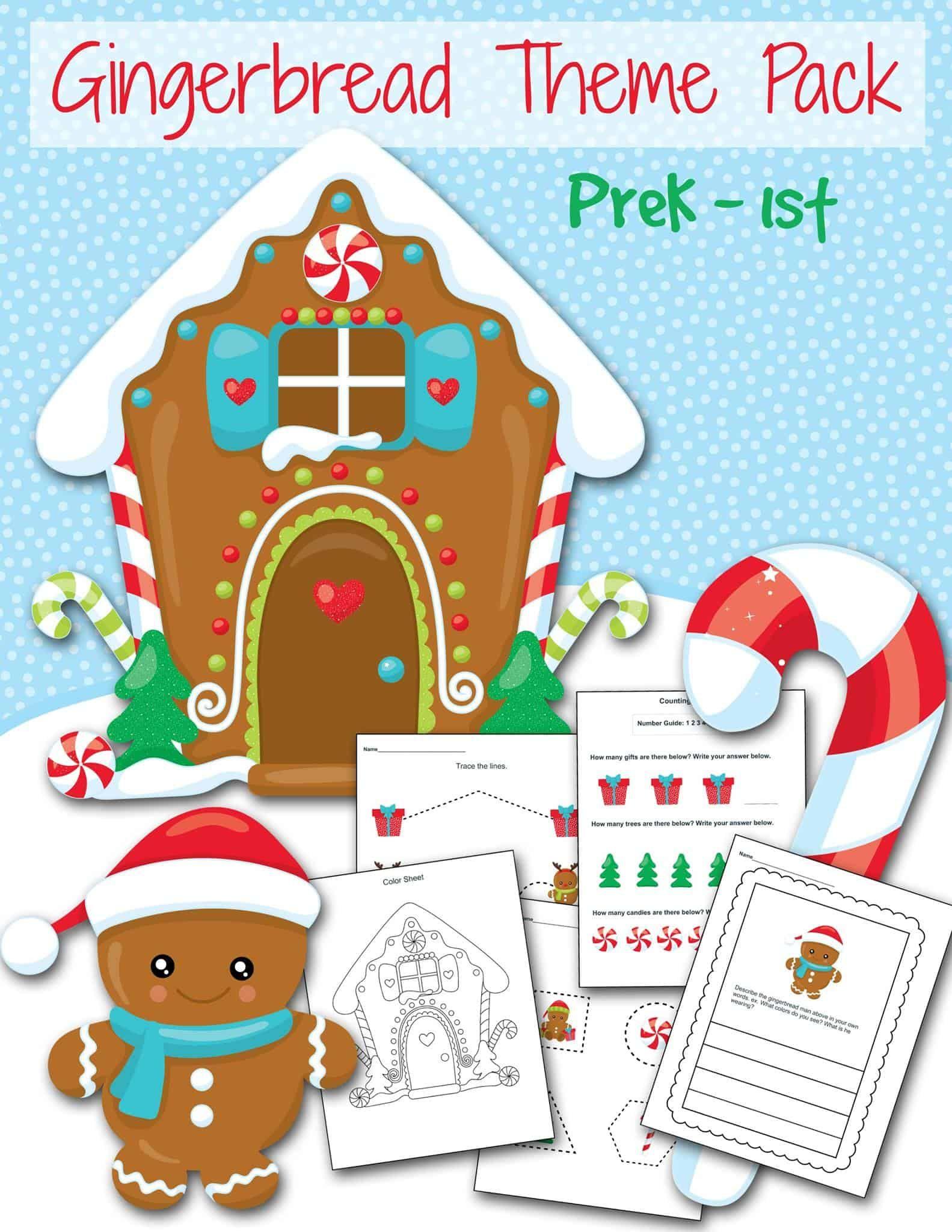 Free Gingerbread Preschool Printable Worksheet Set In