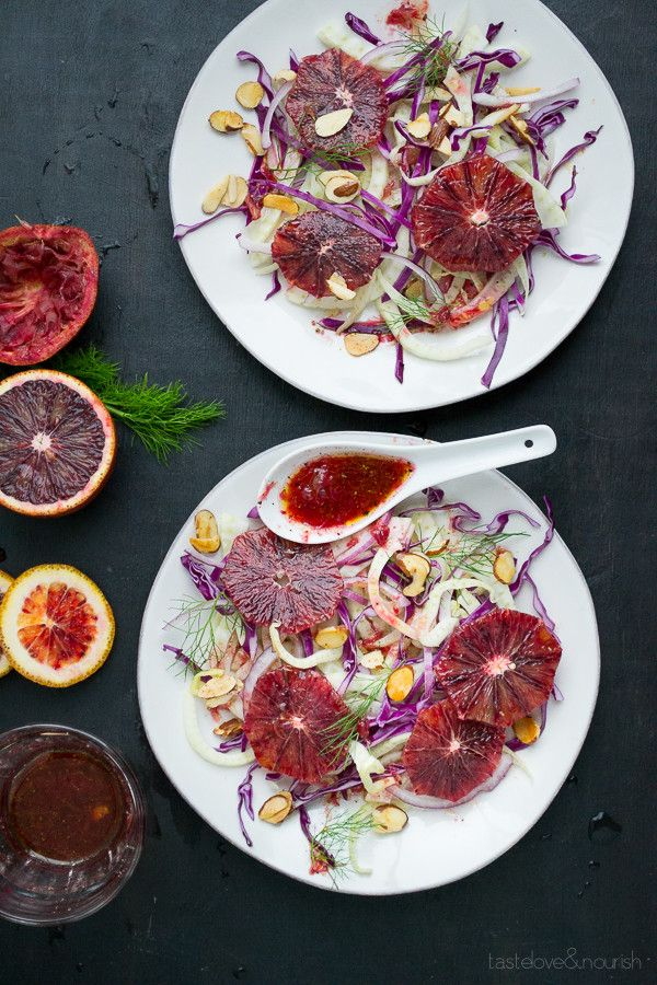 Blood Orange and Fennel Salad - citrusy, fresh and colorful, this salad is topped with a blood orange dressing and honeyed almonds. | @tasteLUVnourish