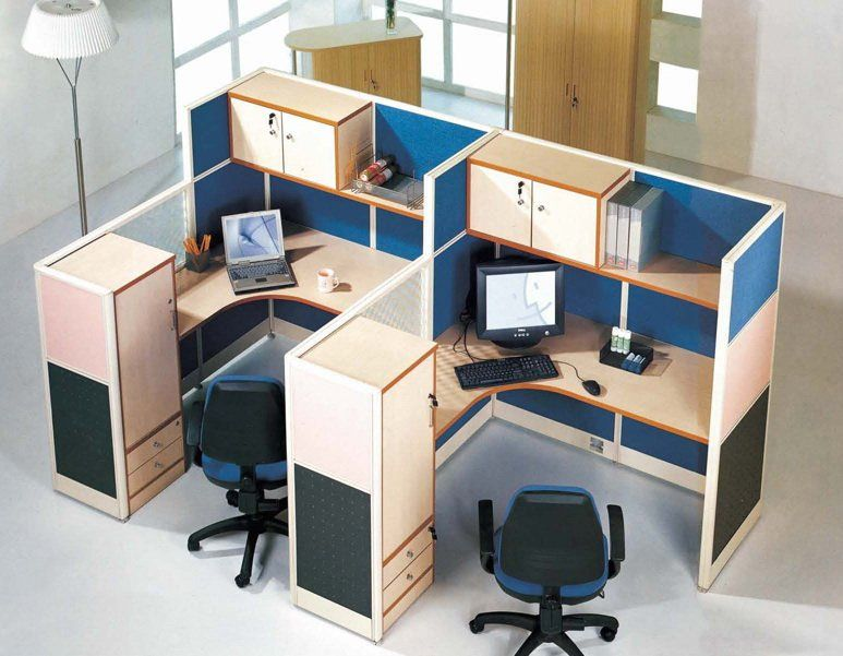 Popular Small Office Cubicles With Overhead Cabinet And Shelves