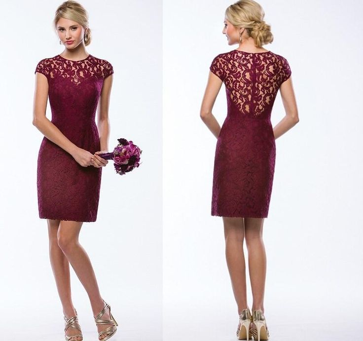 Lace Wine Color Bridesmaid Dresses