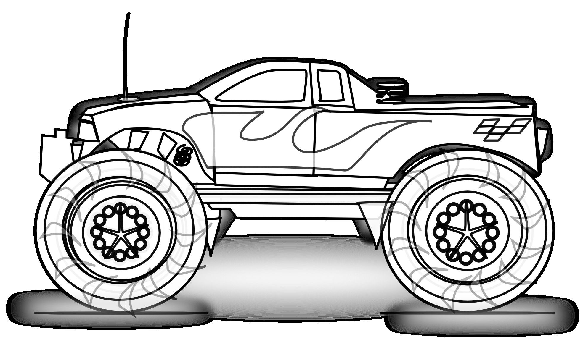 Free printable coloring in pages - Free Printable Monster Truck Cars Coloring Pages