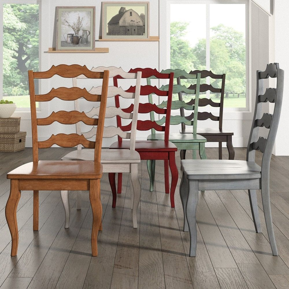 Eleanor French Ladder Back Wood Dining Chair (Set of 2) by