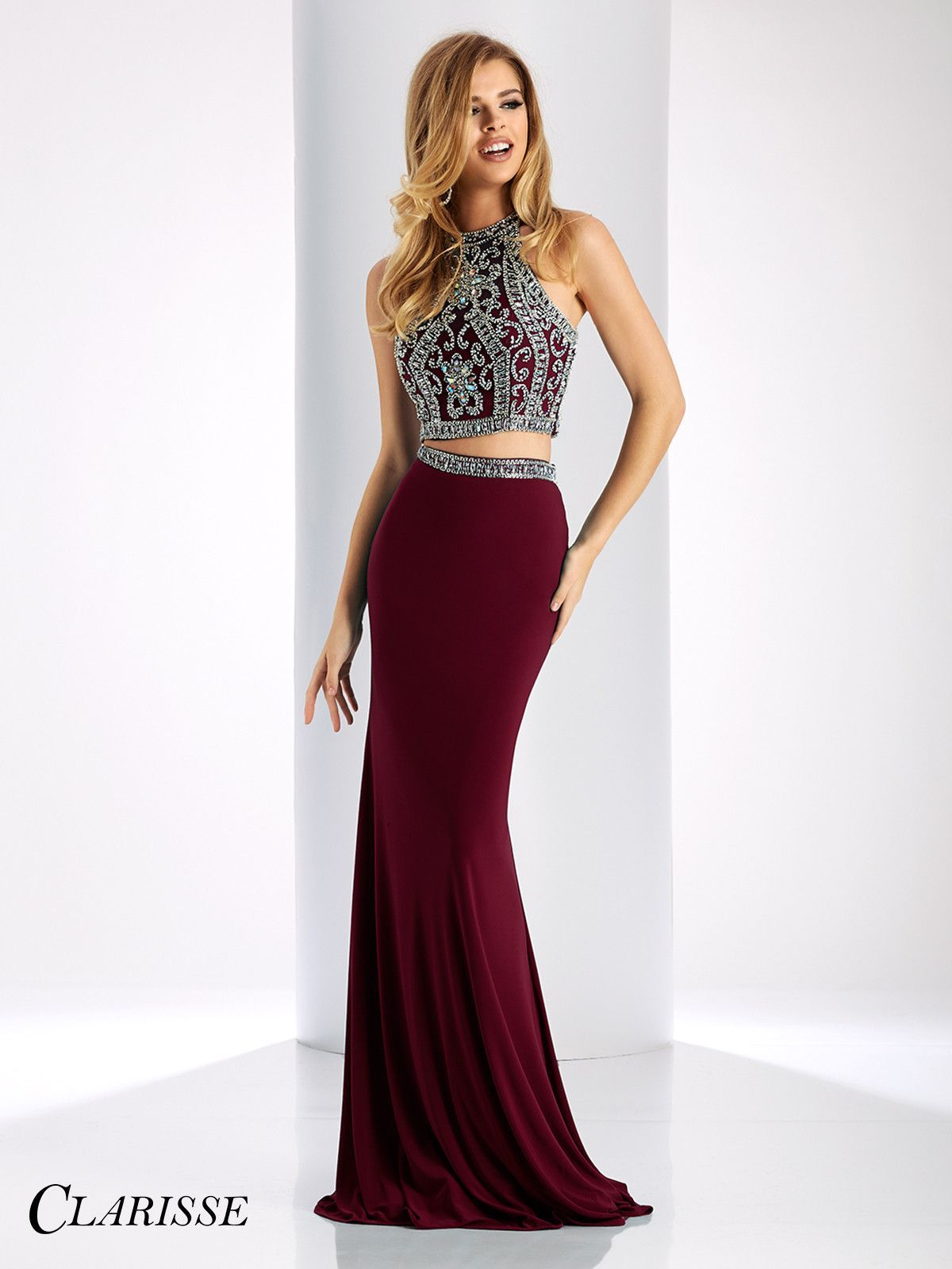 Clarisse Prom 3006 Marsala/Silver Two-Piece Prom Dress
