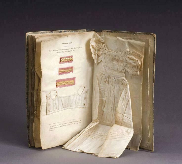 1830s book that was used to teach needlework to young girls at a school in Dublin