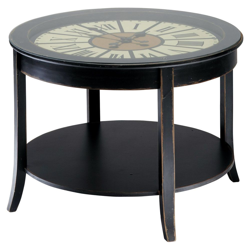Tables Et Bureaux Black Coffee Tables Table Wooden Clock