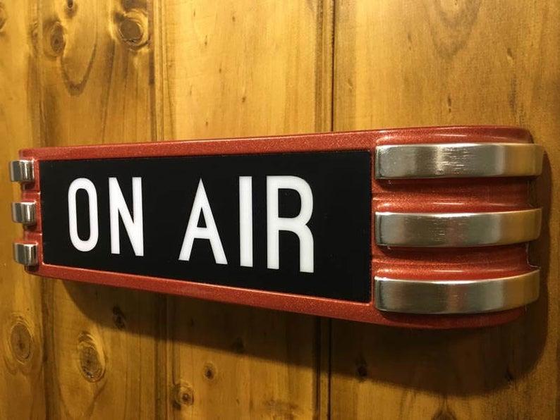 Art Deco Onair Recording Radio Sign In Stunning Metallic Red Etsy Deco Art Deco Art Deco Sign