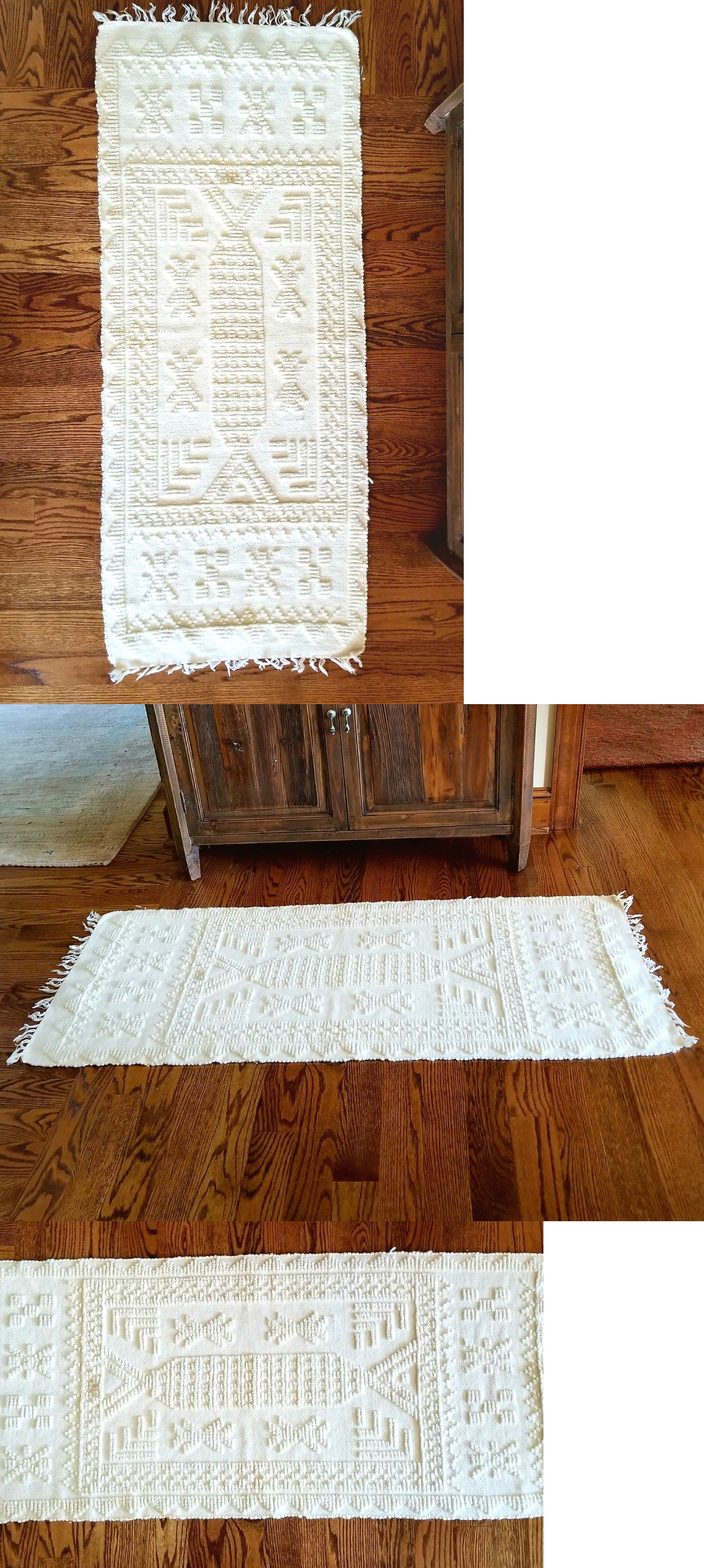 Wool And Needlefelted Items 160664 Greek Throw Rug 2 X5 Handwoven Natural Made In