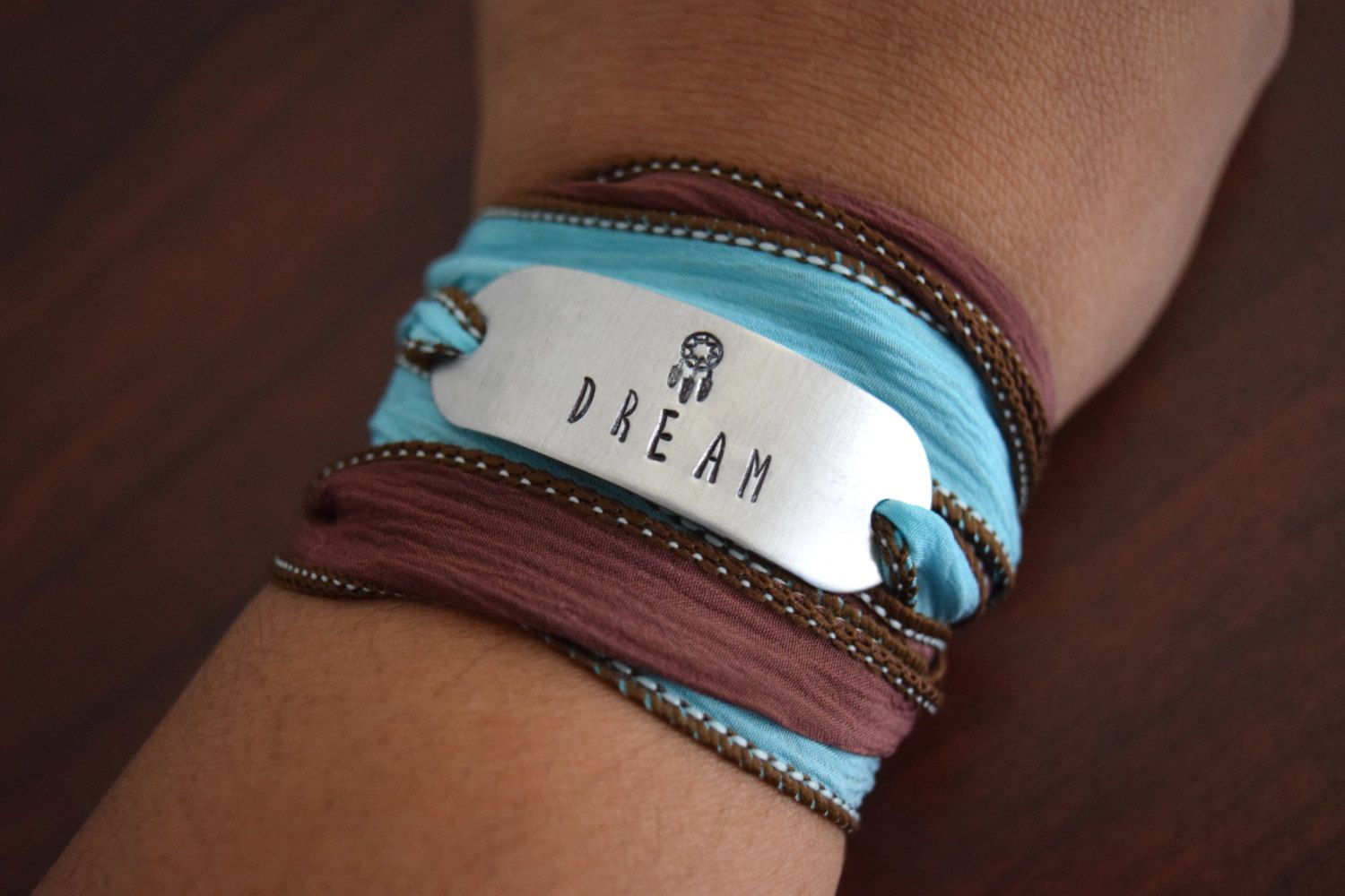 Dream Hand Stamped Ribbon Wrap Bracelet by FancifulWish on Etsy