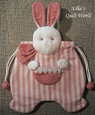 Ulla\'s Quilt World: Quilted rabbit pouch, Japanese patchwork ...