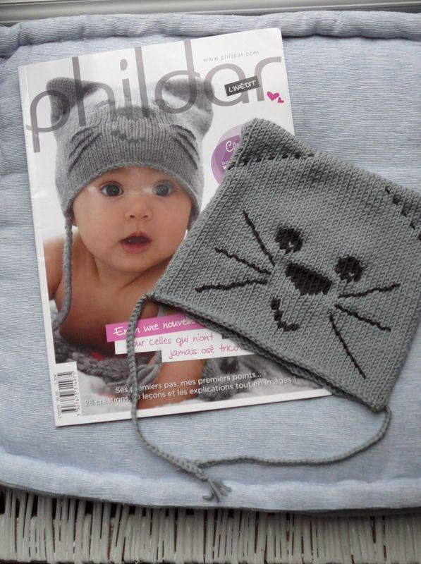 Bonnet bébé chat. Laine phildar 1semaine de tricot + broderie + montage  Fait\u2026