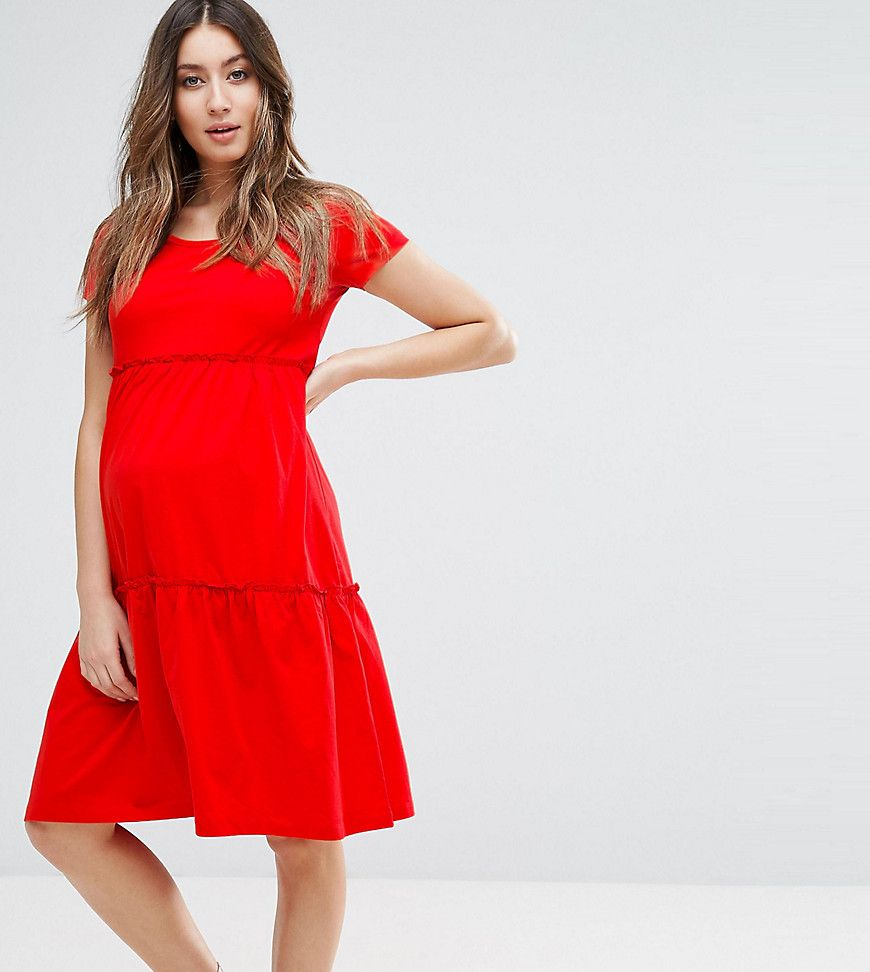 Click for more details. Worldwide shipping. Mamalicious Short Sleeve Jersey  Dress - Red: Maternity dress by Mama.Licious, Cotton jersey, Scoop neck, ...