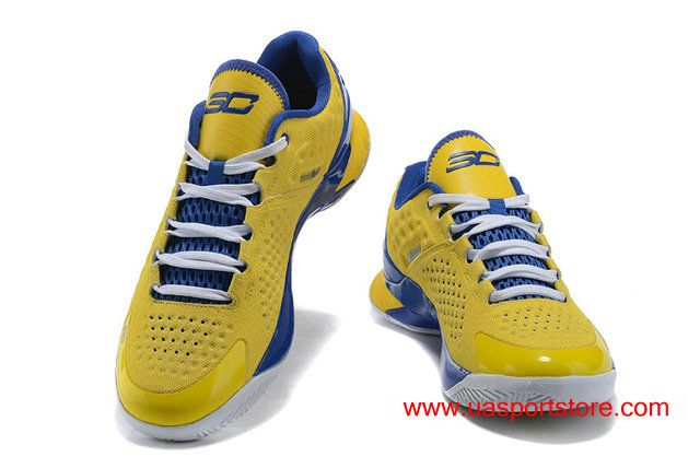 buy popular b1a2c 2b6b2 Under Armour UA Curry 1 Low Yellow Blue Basketball Shoes For Men
