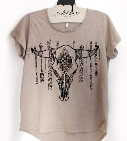Cow Skull Taupe T-Shirt | Women's Clothing | Mad Love | Scoutmob Shoppe | Product Detail