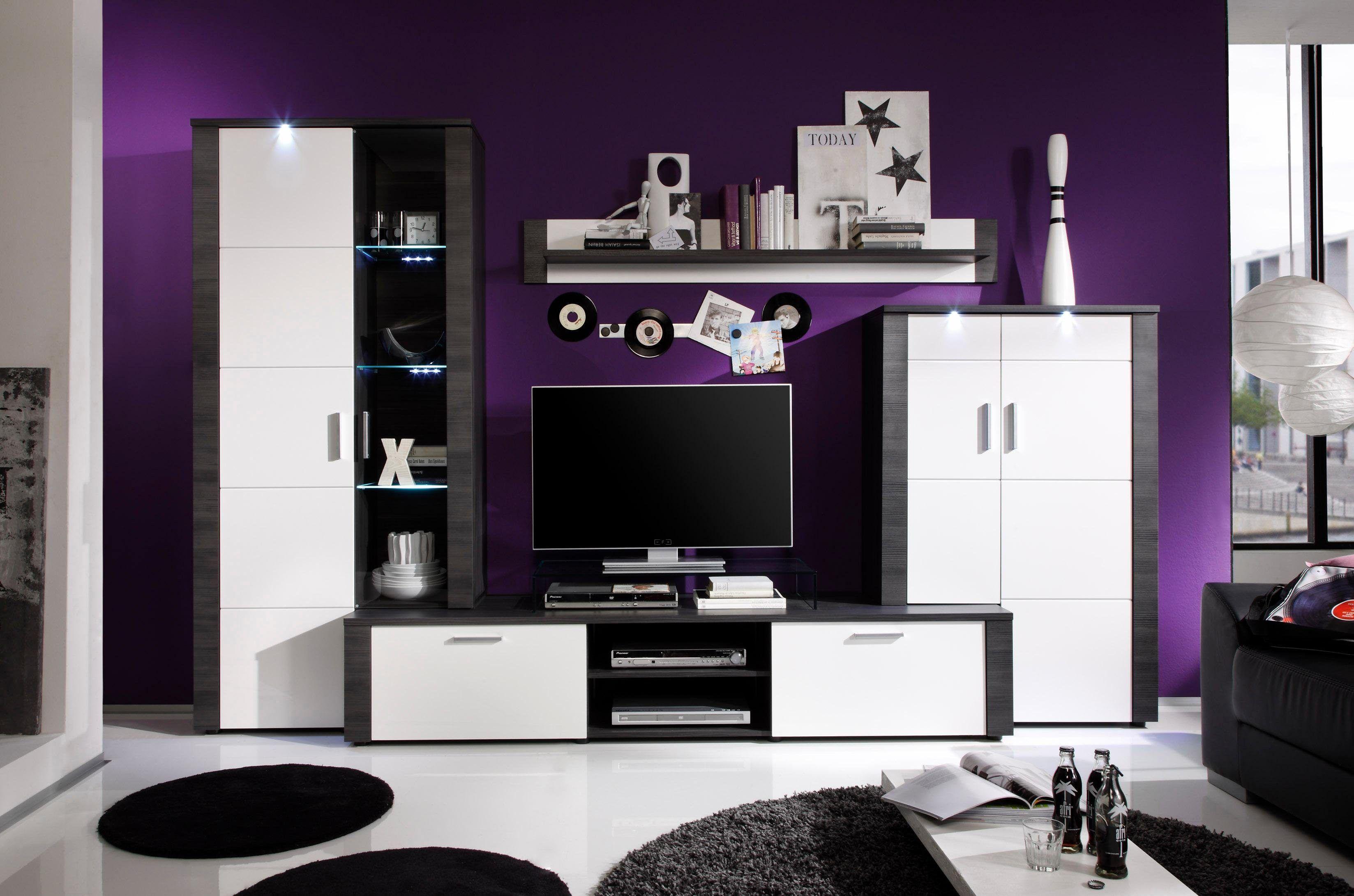 Wohnwand weiß, pflegeleichte Oberfläche, FSC®-zertifiziert ...