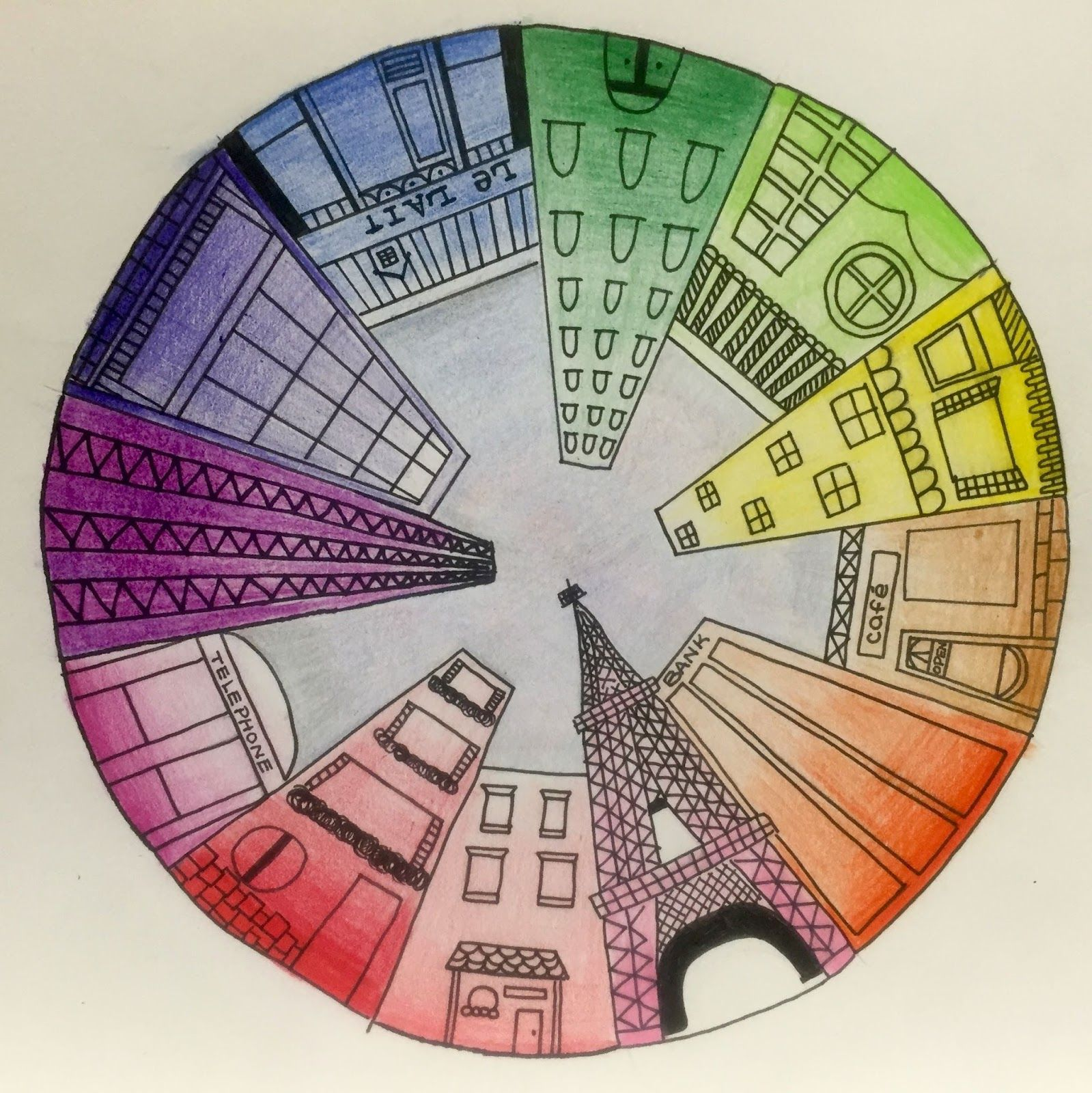 Co color wheel art - Objective Students Will Create A Color Wheel Using One Point Perspective Accurate Color Placement And Value Ca Art Standards