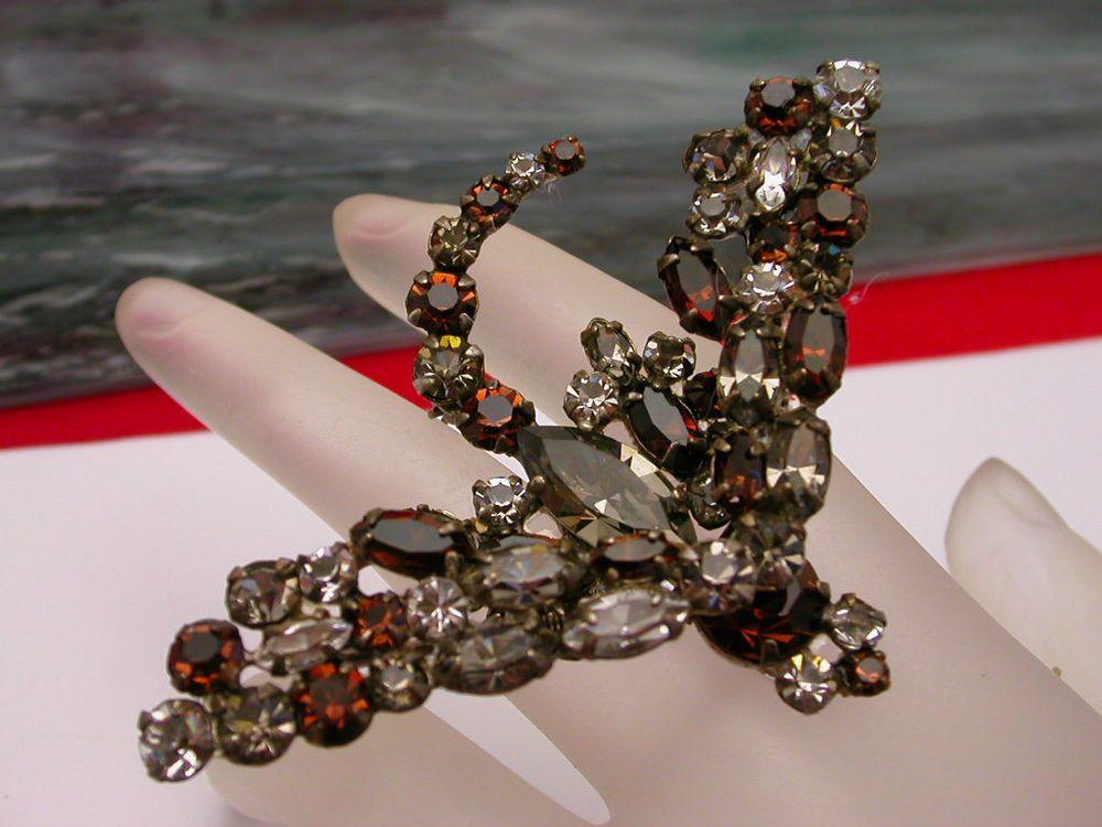 Vintage Unsigned Schreiner Trembler Rhinestone Insect bug Butterfly Brooch Pin #unsignedSchreiner