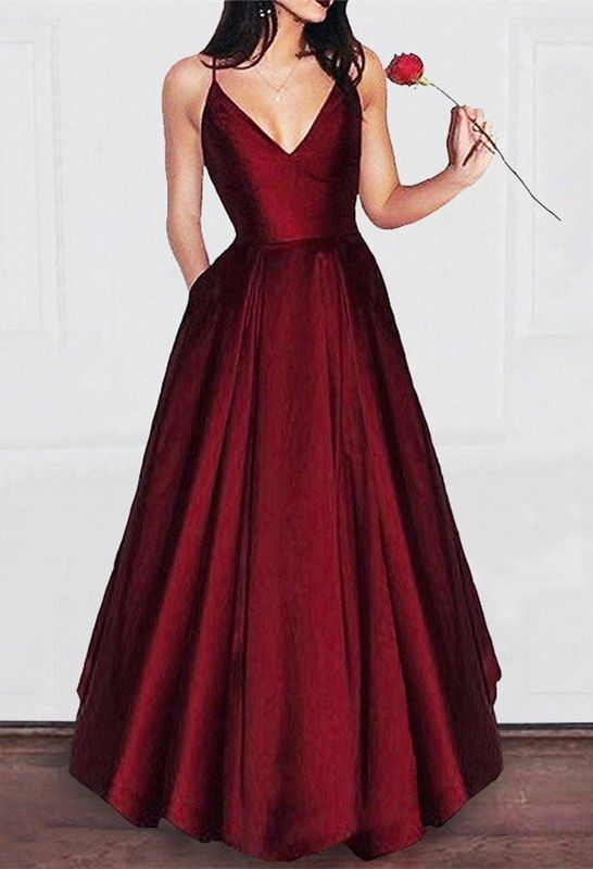 Simple Satin Long Burgundy Prom Dresses With Pocket Dark Red Spaghetti Straps Cheap Prom Party Satin Prom Dress Red Satin Prom Dress Prom Dresses With Pockets
