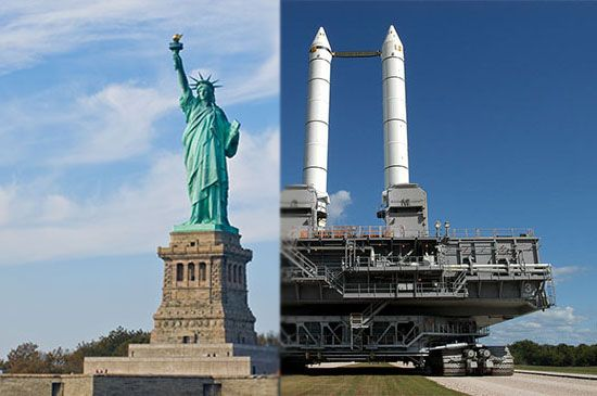A stacked Solid Rocket Booster is the same height as the Statue of Liberty (not including pedestal) — 151 feet.