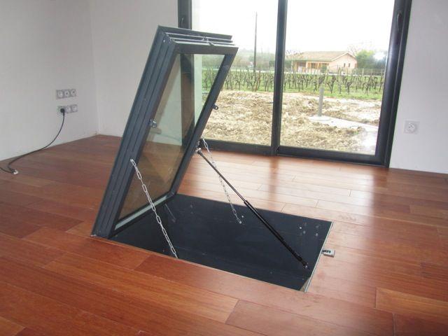 trappe de cave sur parquet avec v rin m canique mes r alisations. Black Bedroom Furniture Sets. Home Design Ideas