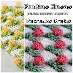 """Delicadezas en crochet Gabriela: Punto """"Rosas rococó en varios colores"""""""