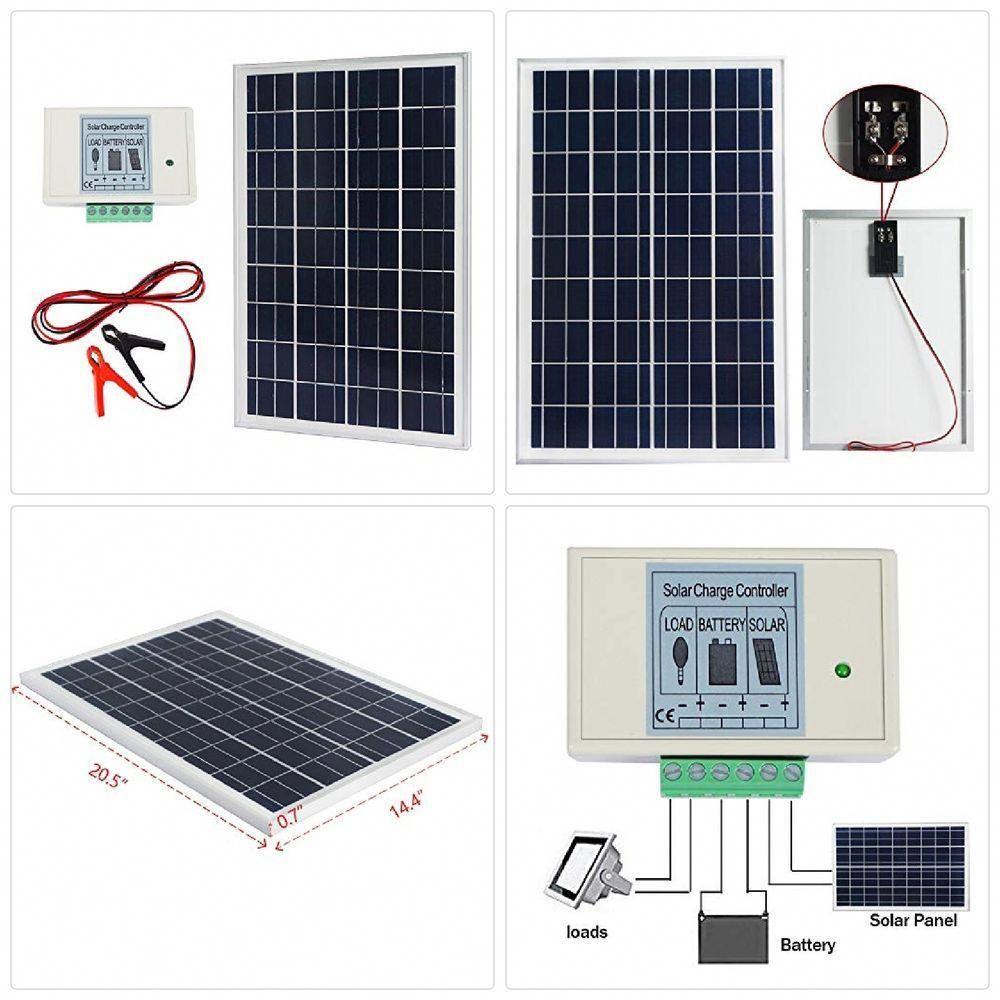 Eco Worthy 20w 12v Ip65 Solar Panel Kit 20w Off Grid Polycrystalline Solar Pane Home Stuff Improvement Solar Power House Solar Panels Solar Energy Panels