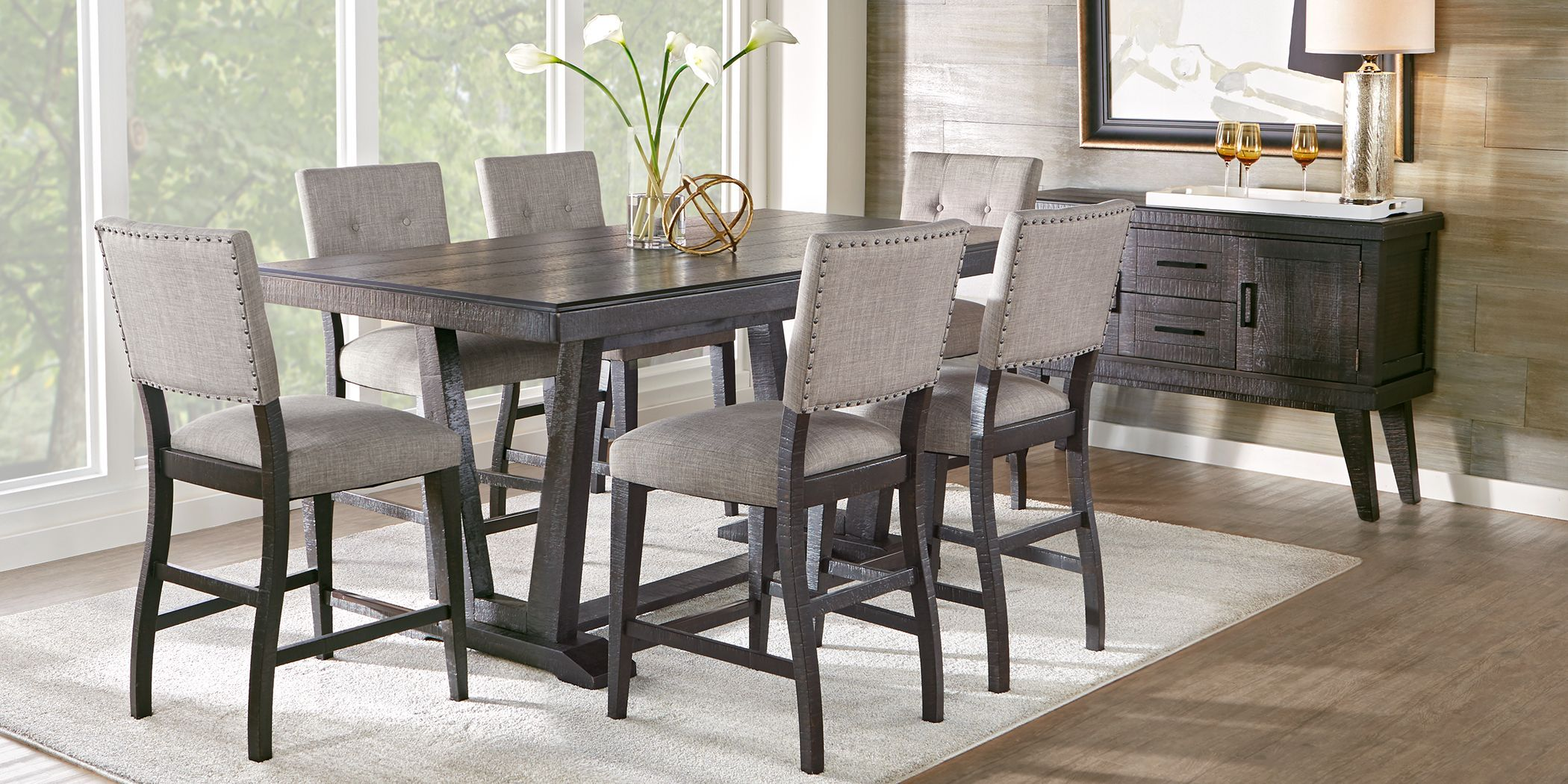 Hill Creek Black 5 Pc Counter Height Dining Room Counter Height