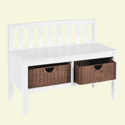Attractive 2 Basket Storage Bench In White BC9218   The Home Depot