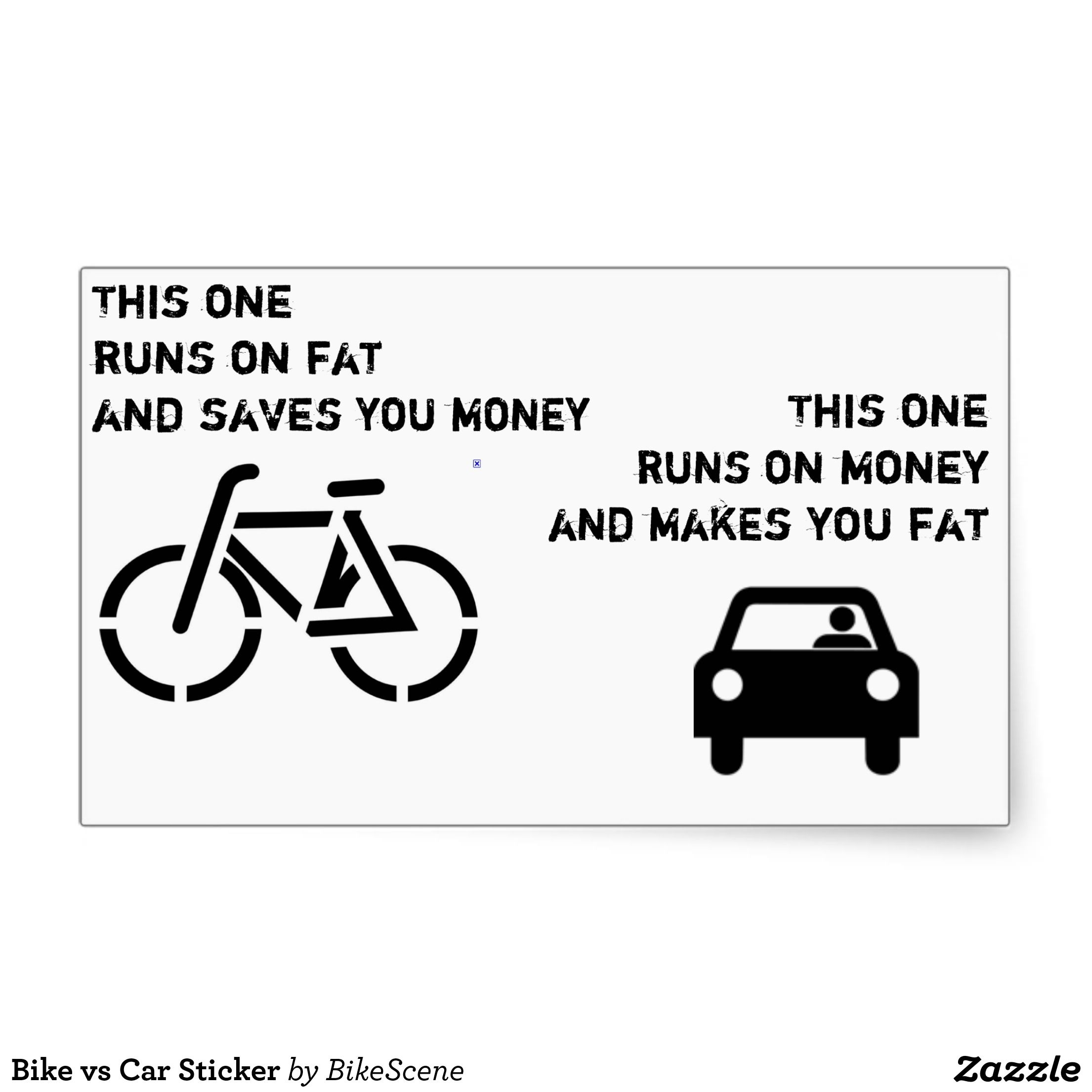 Bike Vs Car Sticker Zazzle Com Sepeda