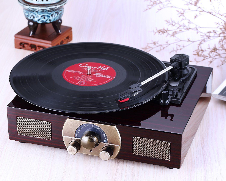 Lugulake Vintage Retro Wooden Finish Stereo 3 Speed Turntable Turntable Vintage Vinyl Record Player Turntable
