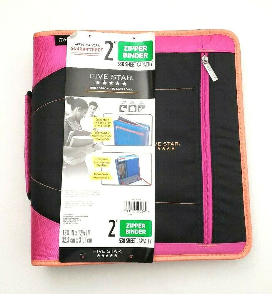 "Details About Five Star 2"" Zipper Binder W/Handle 530"