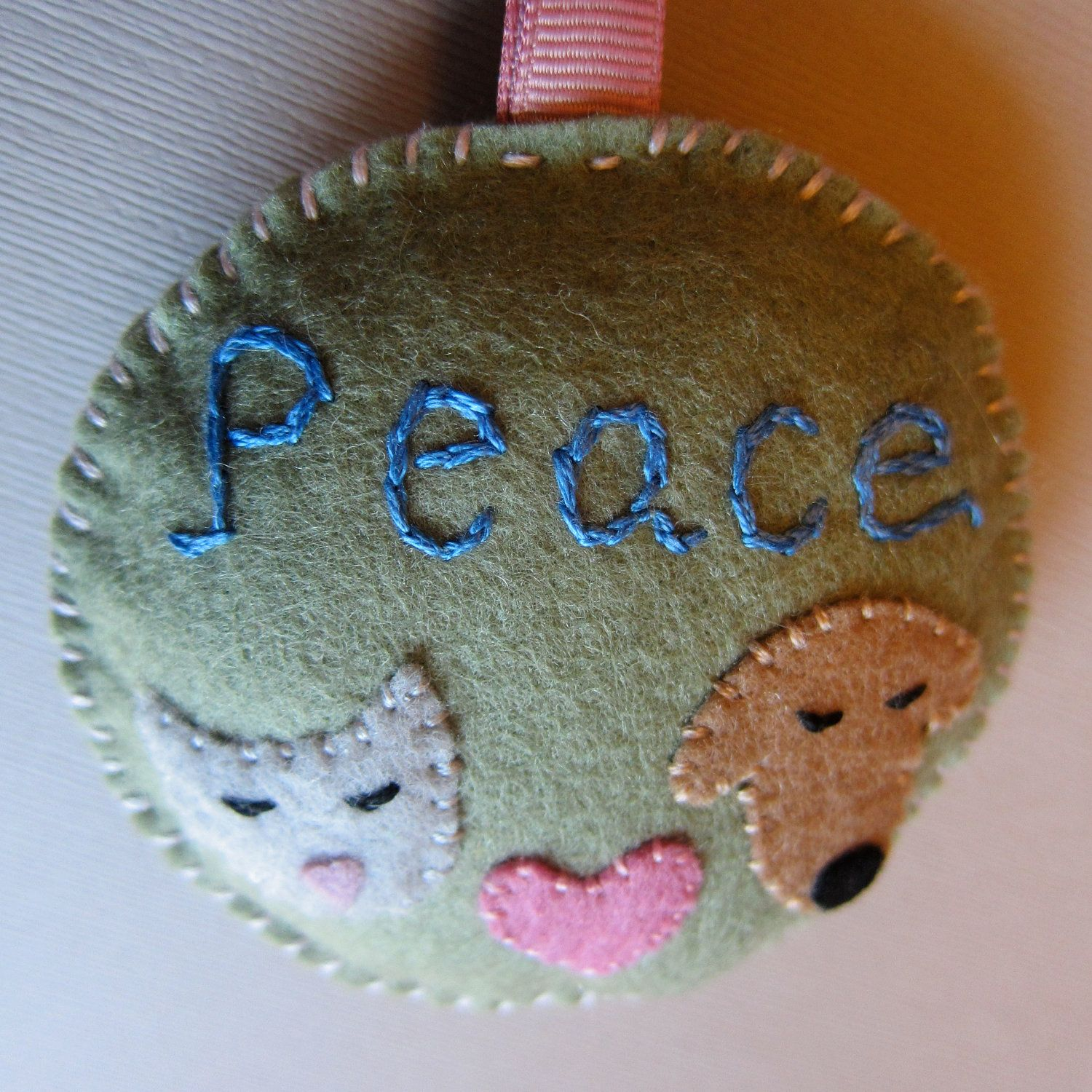 Cat dog lover felt decoration/holiday ornament