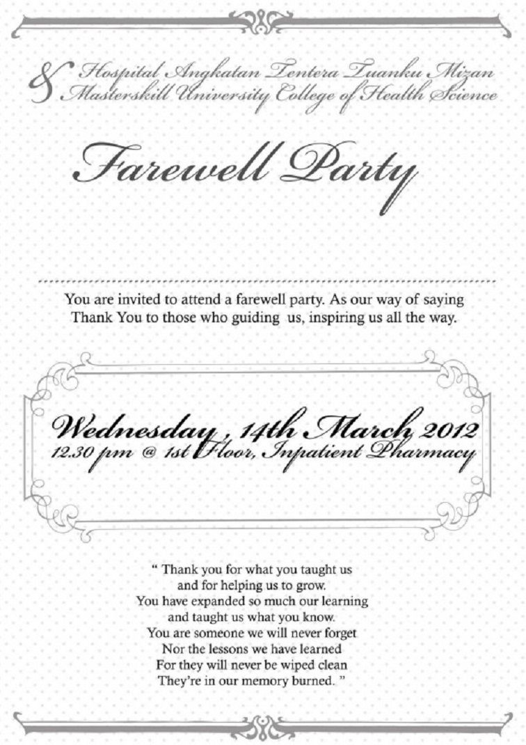 Farewell Party Invitation Note In 2019