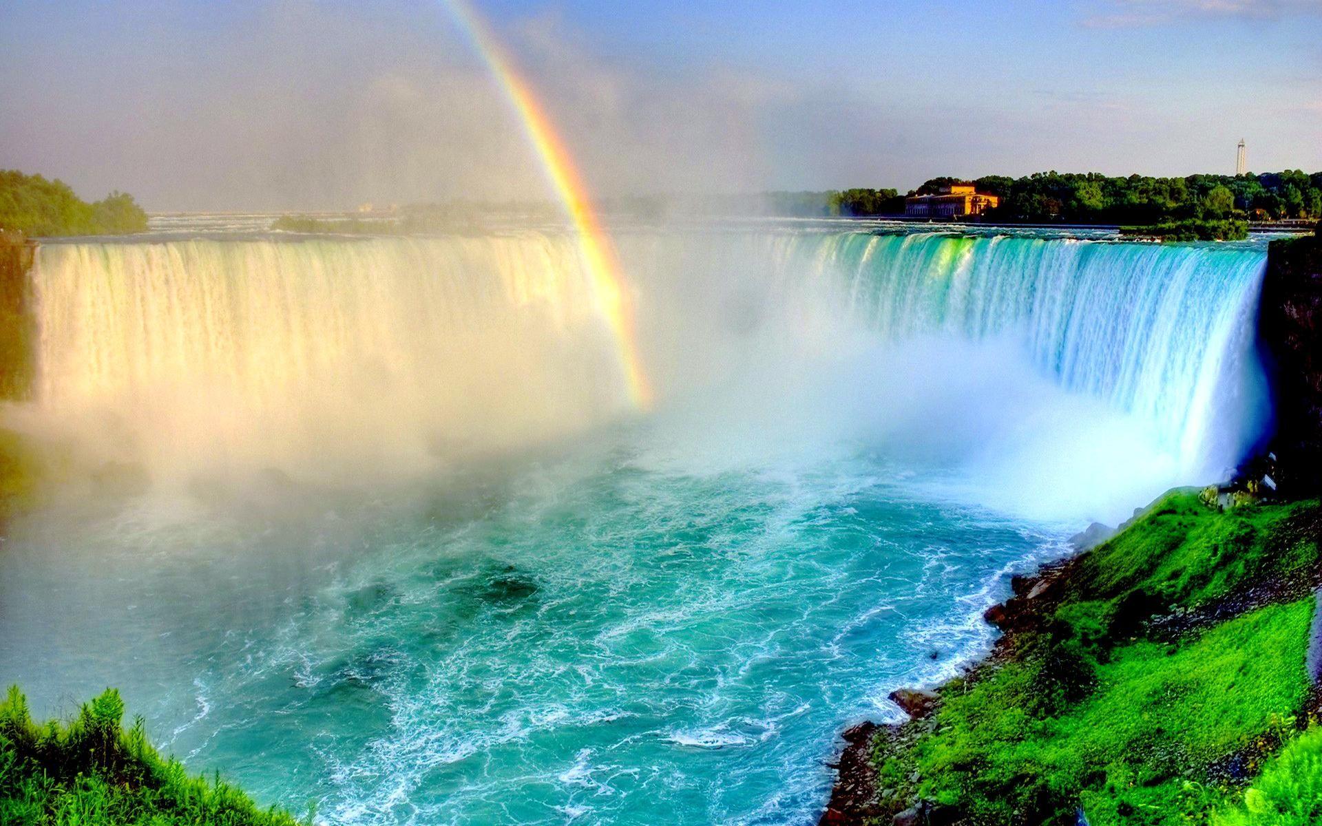 Rainbow Over Niagara Falls Hq Wallpaper Beautiful Waterfalls