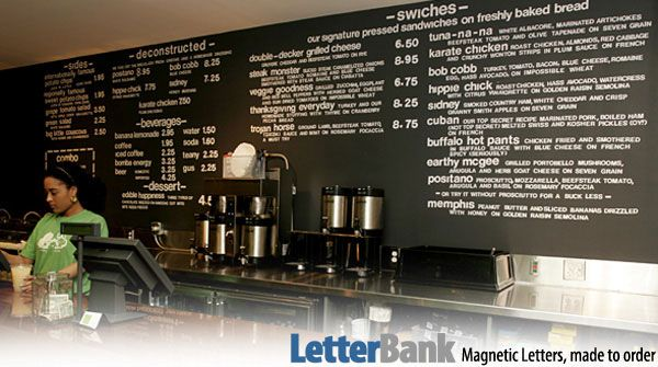 S'WICH Restaurant in NYC uses LetterBank's Die-Cut magnetic letters with their magnetized wall paint. Die-cut magnetic letters work great in...