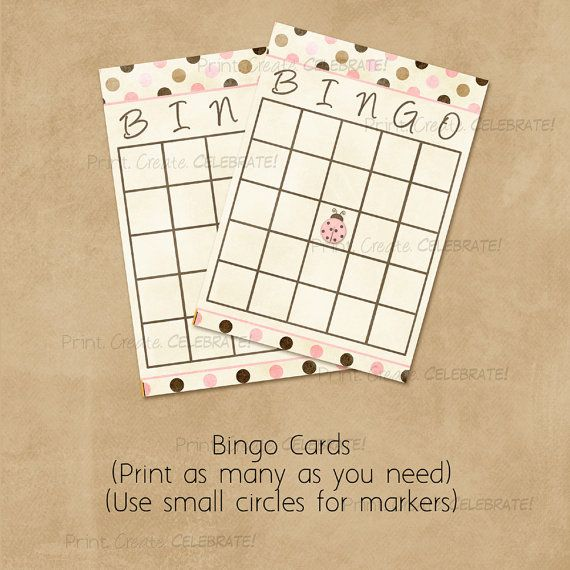 Bingo Cards Baby Shower Game Ladybug Brown by PrintCreateCelebrate, $4.00