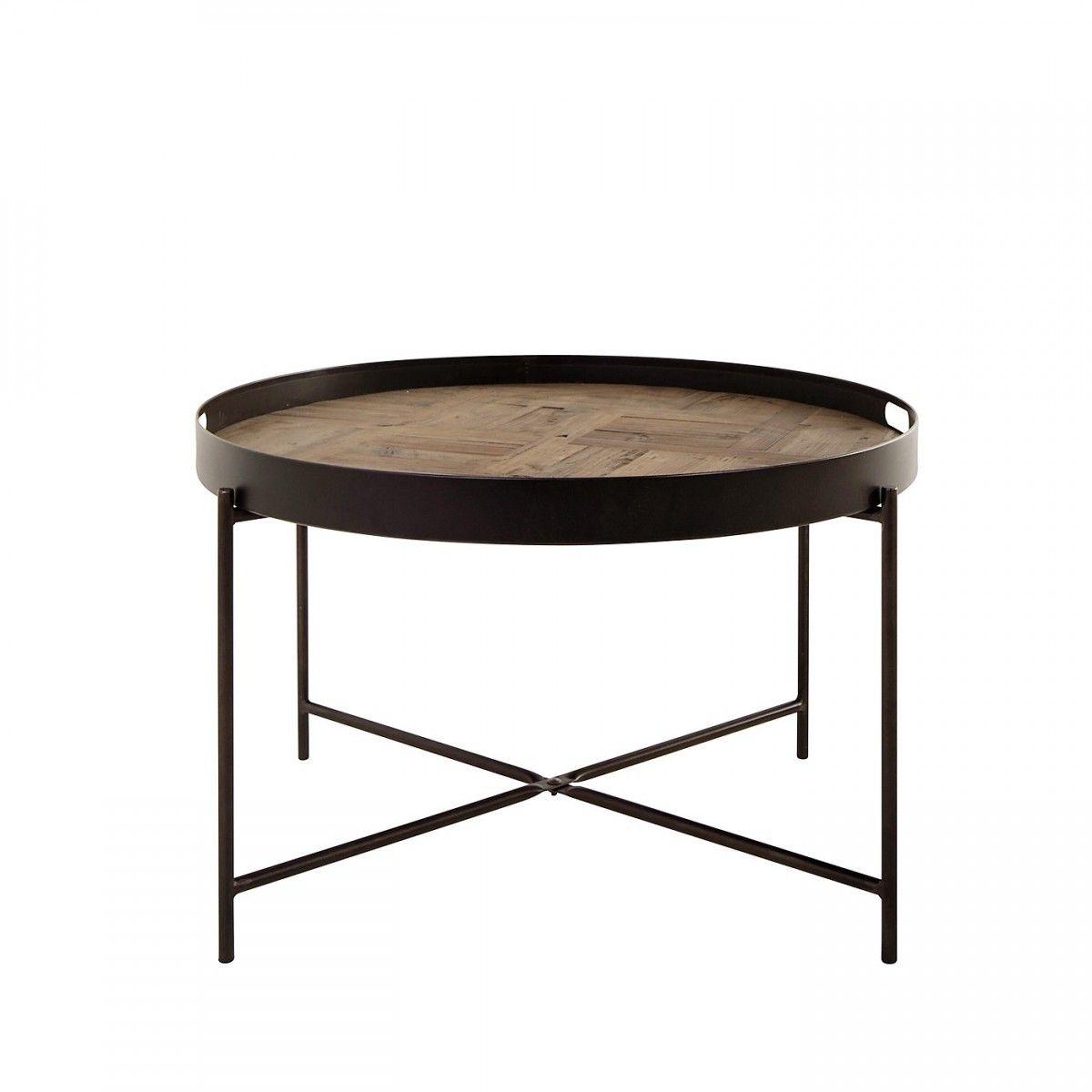 Table Basse Ronde Pin Et Metal 80 Cm Barrio Avec Images Table