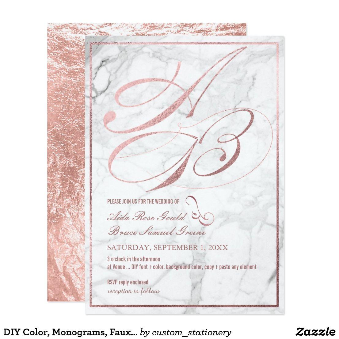 Diy color monograms faux rose gold fancy script