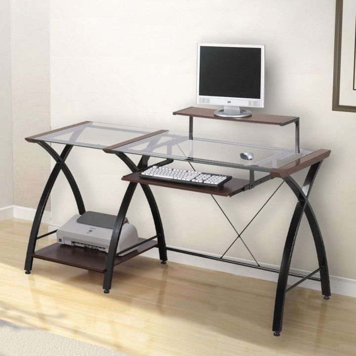 z line belaire glass l shaped computer desk space saving desk rh pinterest com z-line belaire glass l-shaped computer desk dimensions L Glass Desk Top